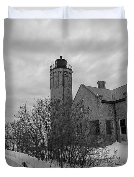 Duvet Cover featuring the photograph Lighthouse And Mackinac Bridge Winter Black And White  by John McGraw
