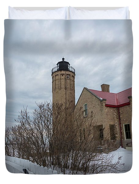 Duvet Cover featuring the photograph Lighthouse And Mackinac Bridge Winter by John McGraw
