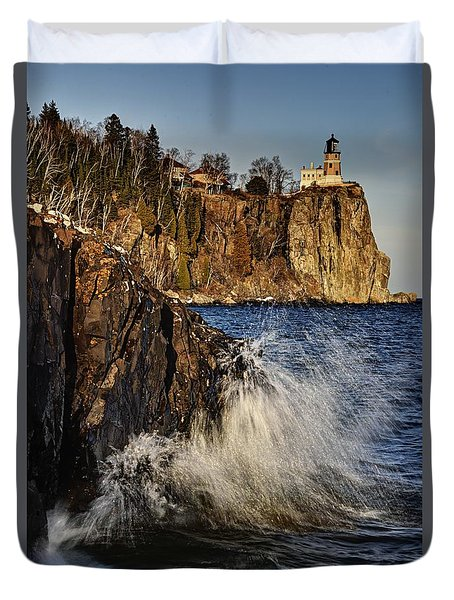 Lighthouse And Spray Duvet Cover
