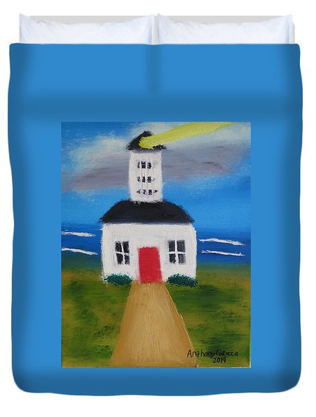Duvet Cover featuring the painting Lighthouse by Artists With Autism Inc