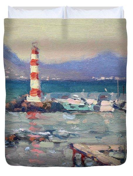Lighthouse At Dilesi Harbor Greece Duvet Cover