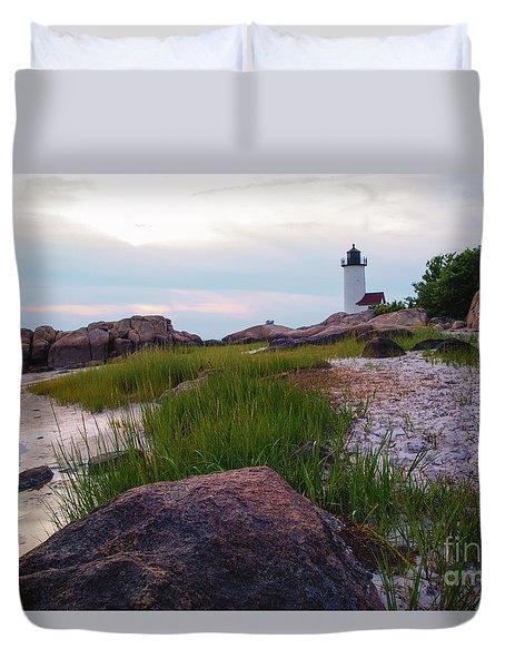 Lighthouse At Dusk Duvet Cover