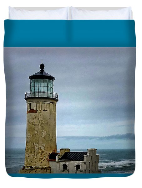 Duvet Cover featuring the photograph Lighthouse At Early Evening by Susan Crossman Buscho