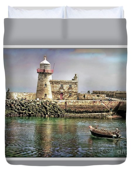 Lighthouse At Howth, Ireland Duvet Cover