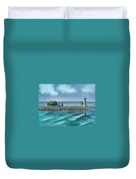 Lighthouse At Lake Conroe Duvet Cover