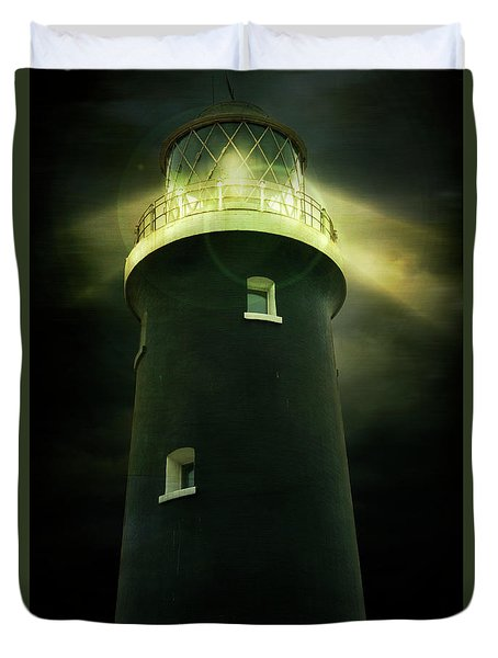 Lighthouse At Night Duvet Cover