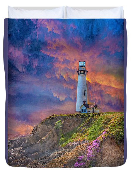 Lighthouse At Pigeon Point Duvet Cover