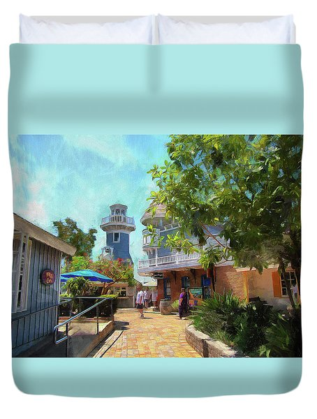 Lighthouse At Seaport Village Duvet Cover