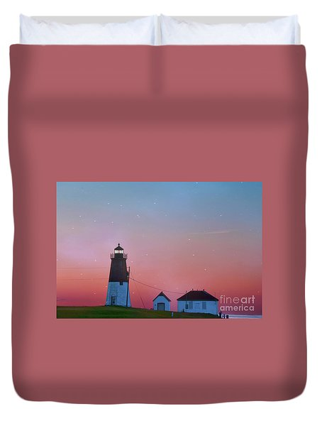 Duvet Cover featuring the photograph  Lighthouse At Sunrise by Juli Scalzi