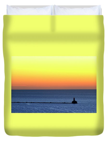 Lighthouse At Sunrise On Lake Michigan Duvet Cover