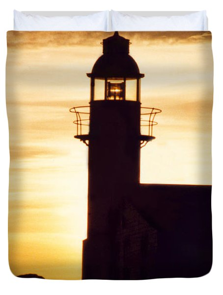 Duvet Cover featuring the photograph Lighthouse At Sunset by Mary Mikawoz