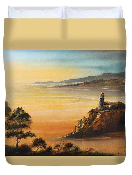 Lighthouse At Sunset Duvet Cover
