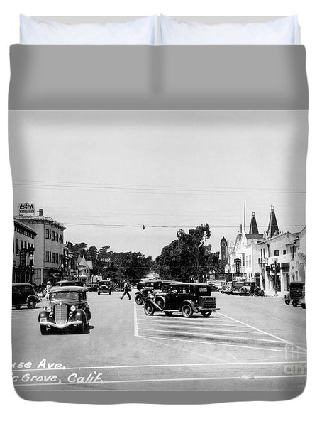 Lighthouse Avenue Downtown Pacific Grove, Calif. 1935  Duvet Cover