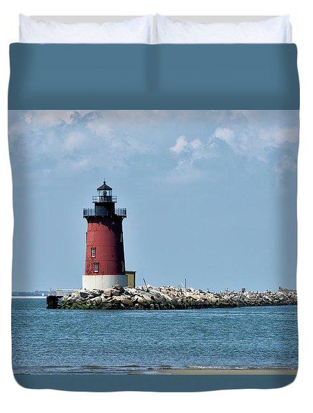 Delaware Breakwater East End Lighthouse - Lewes Delaware Duvet Cover by Brendan Reals