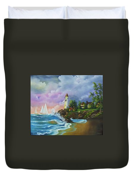 Lighthouse By The Village Duvet Cover