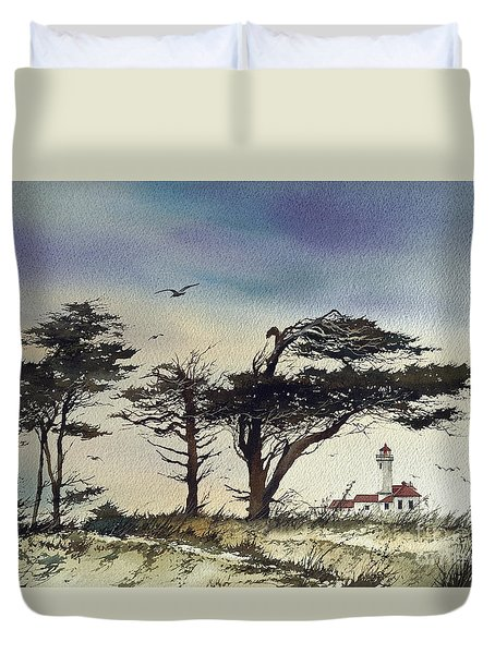 Duvet Cover featuring the painting Lighthouse Coast by James Williamson