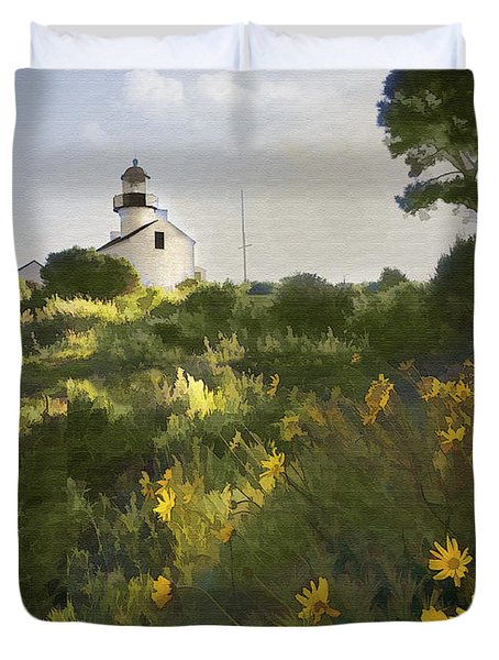 Lighthouse Daisies Duvet Cover by Sharon Foster