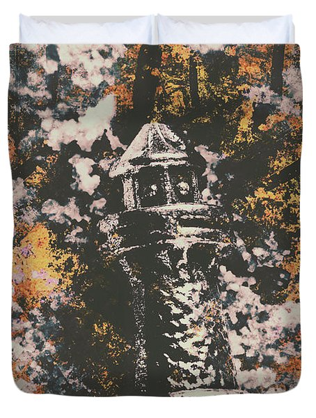 Lighthouse From Rust Harbour Duvet Cover