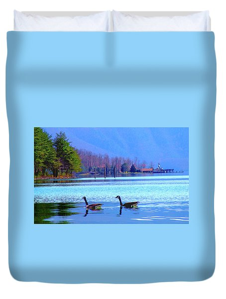Lighthouse Geese, Smith Mountain Lake Duvet Cover