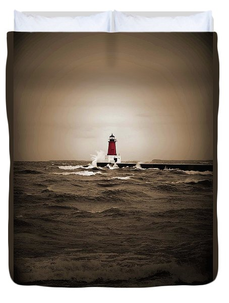 Lighthouse Glow Sepia Spot Color Duvet Cover