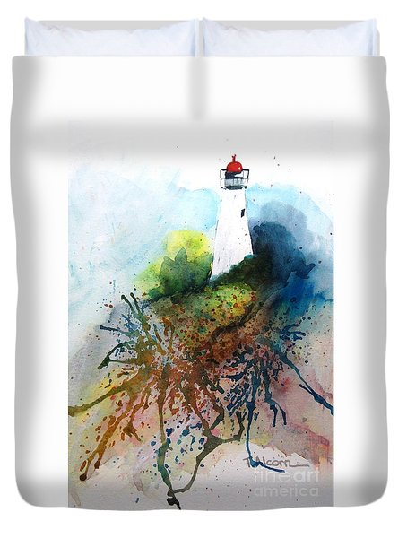 Duvet Cover featuring the painting Lighthouse I - Original Sold by Therese Alcorn
