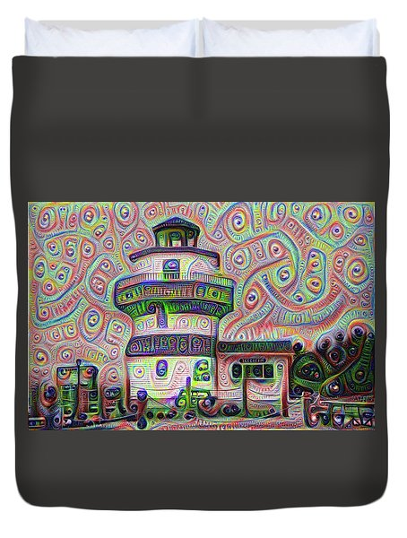 Lighthouse Ice Cream Shop - Wildwood Crest Duvet Cover by Bill Cannon