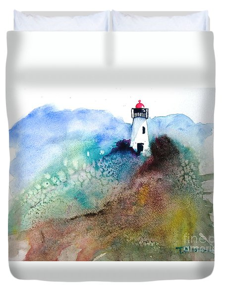 Duvet Cover featuring the painting Lighthouse II - Original Sold by Therese Alcorn