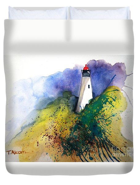 Duvet Cover featuring the painting Lighthouse IIi - Original Sold by Therese Alcorn