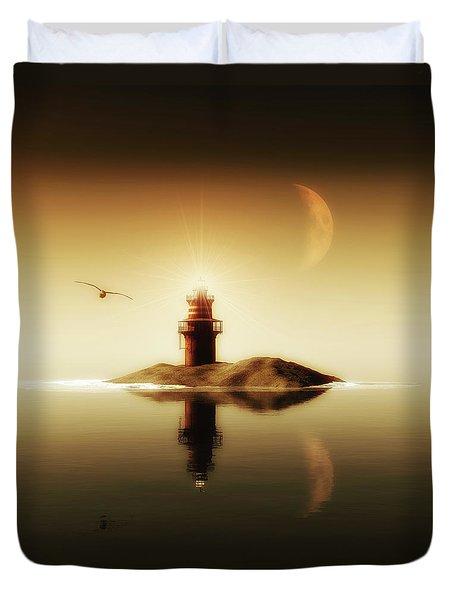 Lighthouse In A Calm Sea Duvet Cover