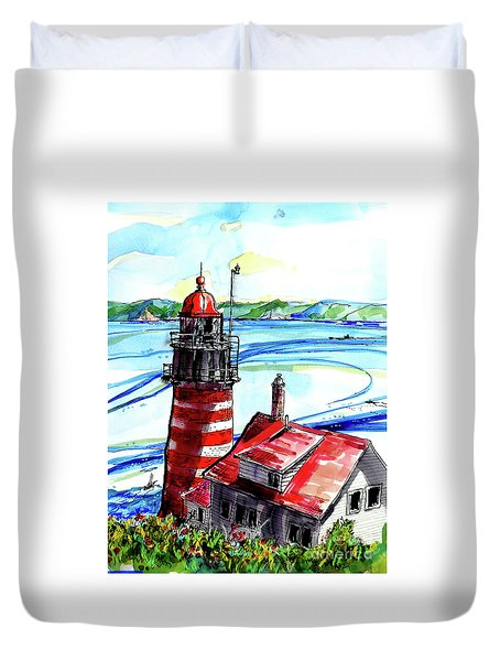 Lighthouse In Maine Duvet Cover by Terry Banderas