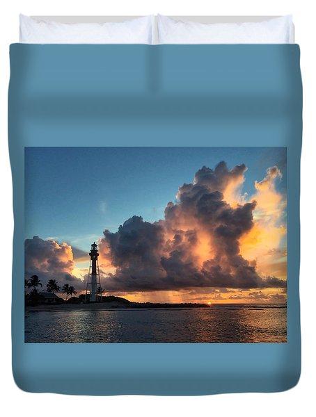 Lighthouse In Orange Duvet Cover