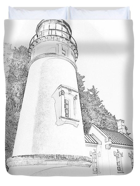 Lighthouse In Oregon Duvet Cover