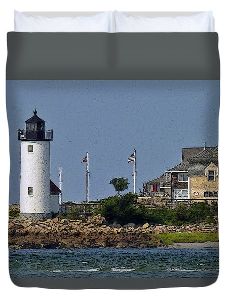 Lighthouse In The Ipswich Bay Duvet Cover