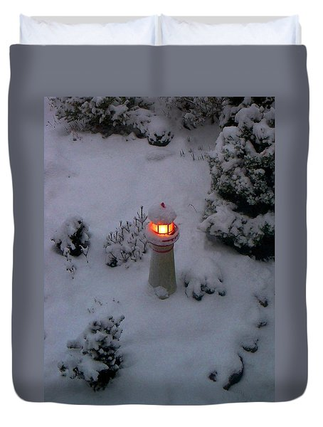 Duvet Cover featuring the photograph Lighthouse In The Snow by Kathryn Meyer