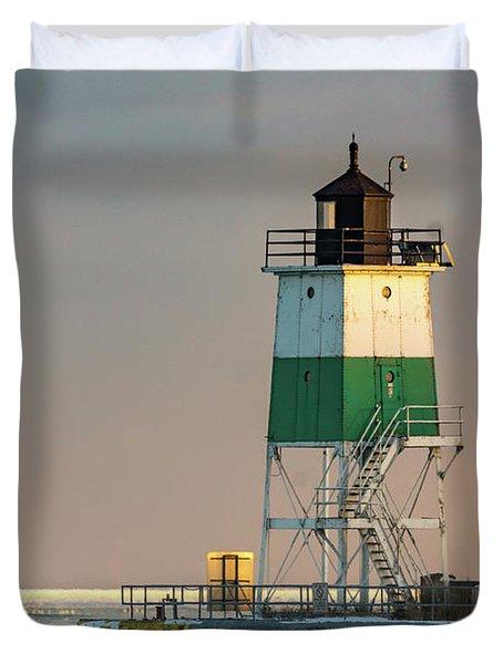 Lighthouse In The Sunset Duvet Cover