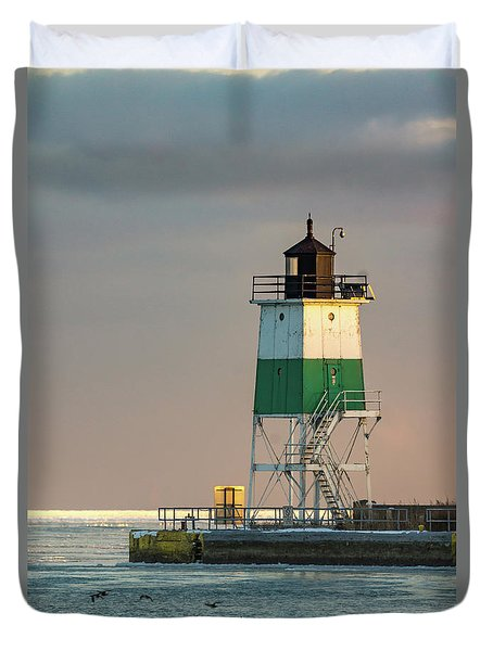 Lighthouse In The Sunset Duvet Cover