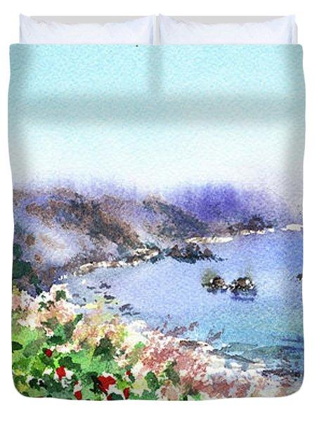 Lighthouse Landscape Watercolor Duvet Cover