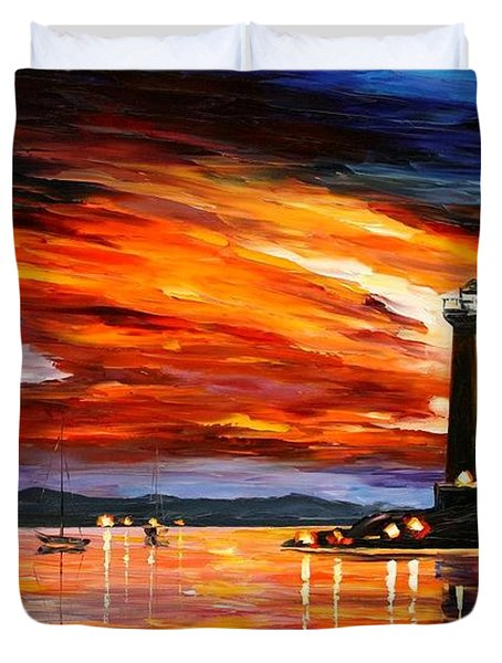 Lighthouse Duvet Cover by Leonid Afremov