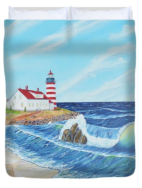 Duvet Cover featuring the painting Lighthouse Life by Mary Scott
