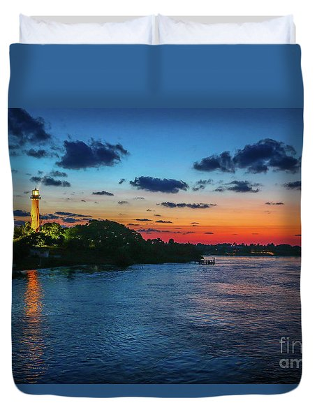 Lighthouse Light Beam Duvet Cover