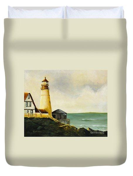 Lighthouse In Oil Duvet Cover