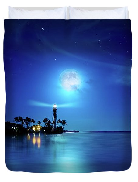 Lighthouse Moon Duvet Cover