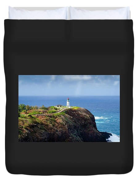 Lighthouse On A Cliff Duvet Cover