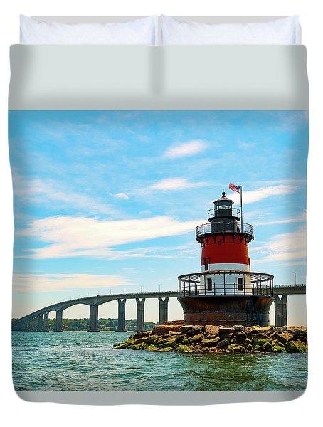 Lighthouse On A Small Island Duvet Cover