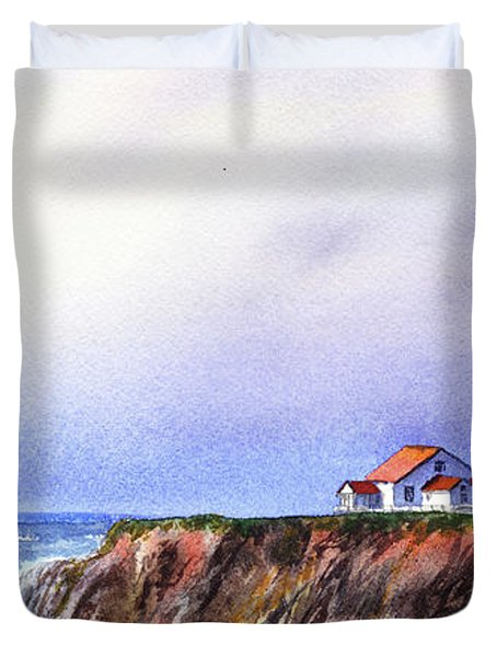 Lighthouse On The Cliff Watercolor Duvet Cover