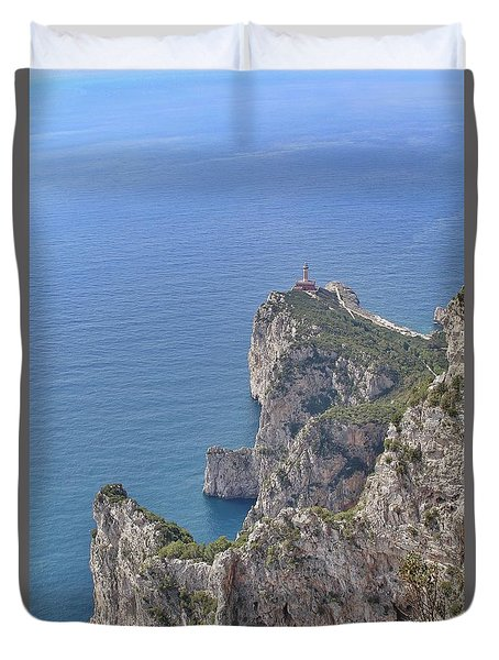 Lighthouse On The Cliff Duvet Cover
