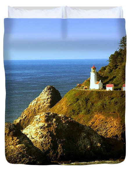 Lighthouse On The Oregon Coast Duvet Cover by Marty Koch