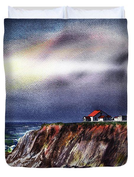 Lighthouse Point Arena At Night Duvet Cover