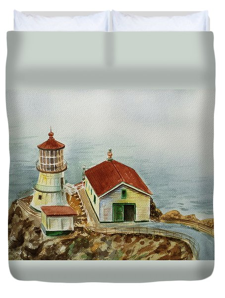 Lighthouse Point Reyes California Duvet Cover