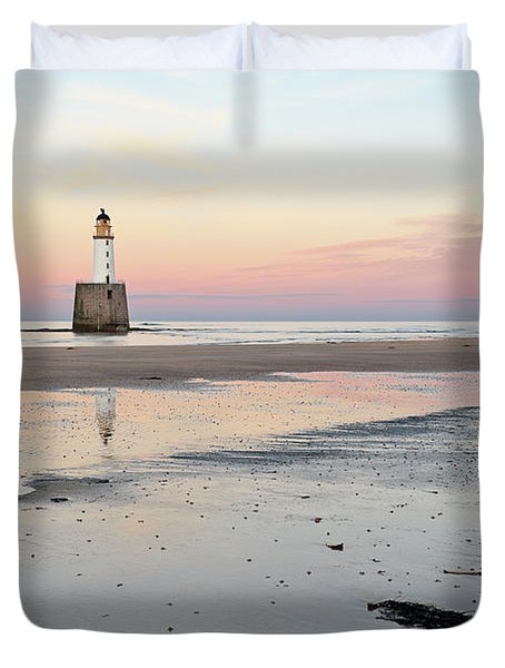 Duvet Cover featuring the photograph Lighthouse Sunset - Rattray Head by Grant Glendinning